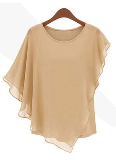 Nouveaux hauts de mousseline de soie de femmes Trendy ébouriffées Batwing manches asymétrique T Shirt kaki