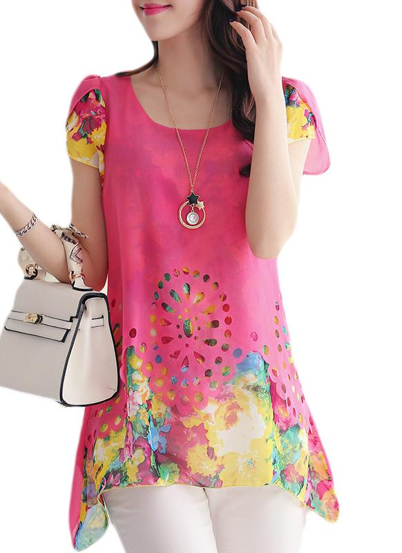 Новые моды женщин шифон блузки цветочные печати выдалбливают оверлея лепесток рукава топы Роуз