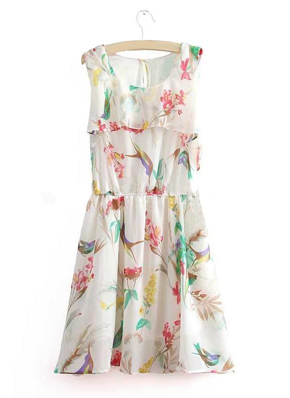 Новые летние женщин шифоновое платье цветочные печати рукавов мини танк платье белый