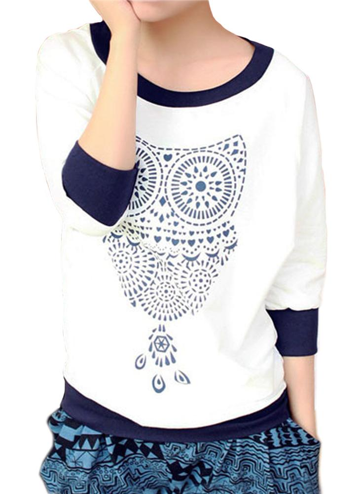 Casual Owl Print Color Block Batwing Half Sleeve White T-shirt