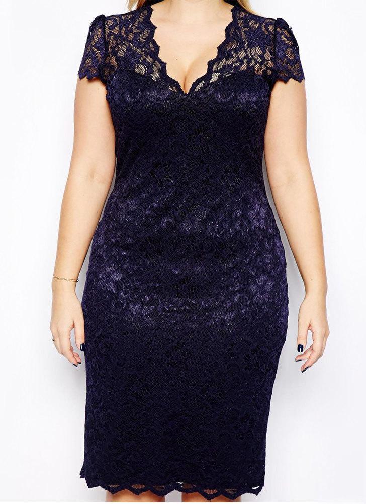 Новая мода женщин миди платье v-образным вырезом цветочные кружева плюс размер карандаш Bodycon платье темно-синий