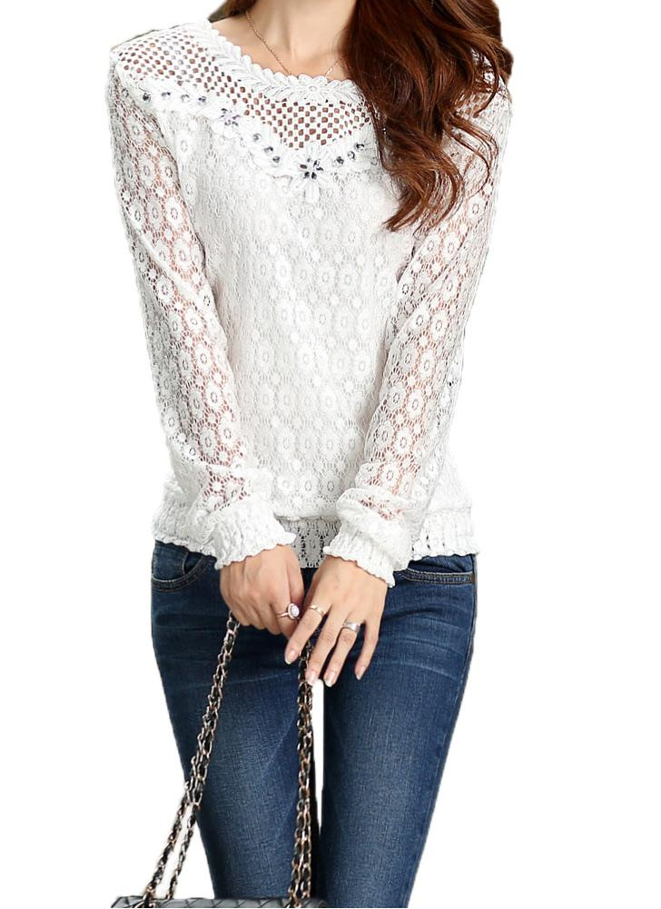 s blanco Nueva moda mujer blusa manga larga encaje Floral Crochet ...