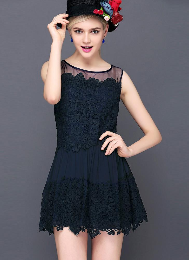 Nova moda mulheres laço vestido crochê Patchwork malha redonda pescoço vestido sem mangas de Mini Slim doce branco/Dark Blue