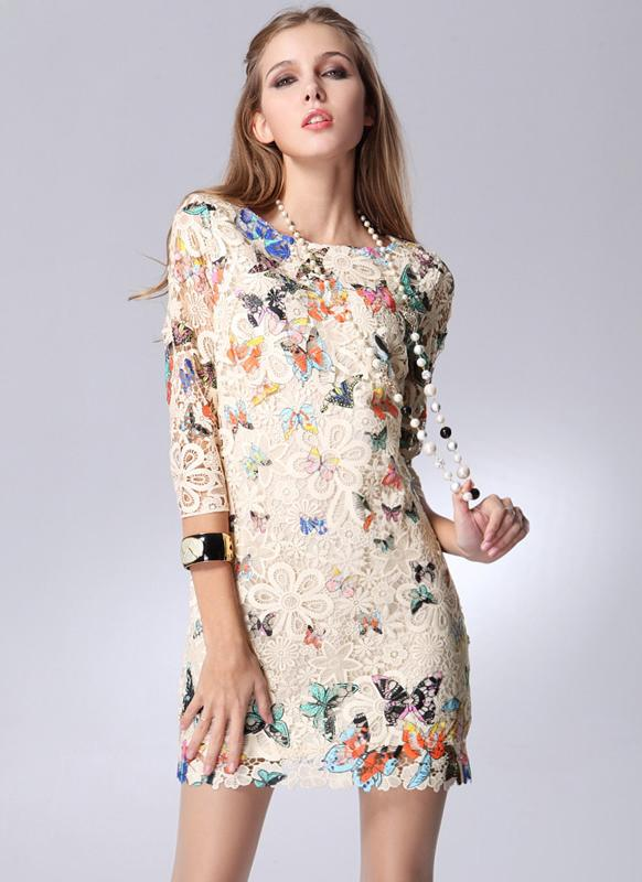 Новые Европы женщины платье печати локтя красочные бабочки Элегантное мини-платье белый/бежевый
