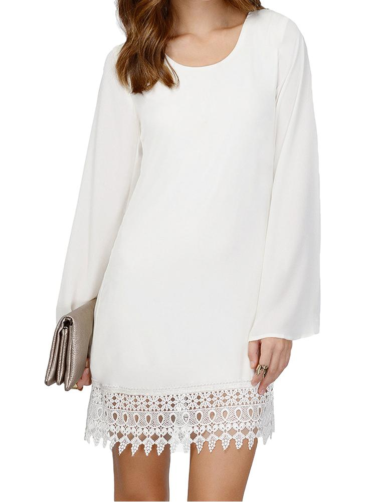 xl blanco Moda mujer cambio gasa vestido Crochet encaje dobladillo ...