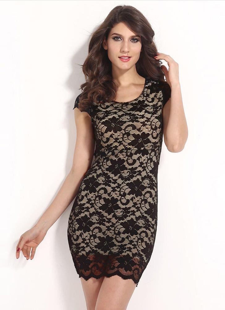 Sexy Damen Kleid floraler Spitze Rundhalsausschnitt Kurzarm Reißverschluss öffnen wieder Mini Bodycon Kleid Schwarz/Pink/blau