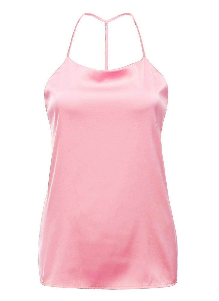 l rosado Moda mujeres camiseta tiras escote Spaghetti espalda ...