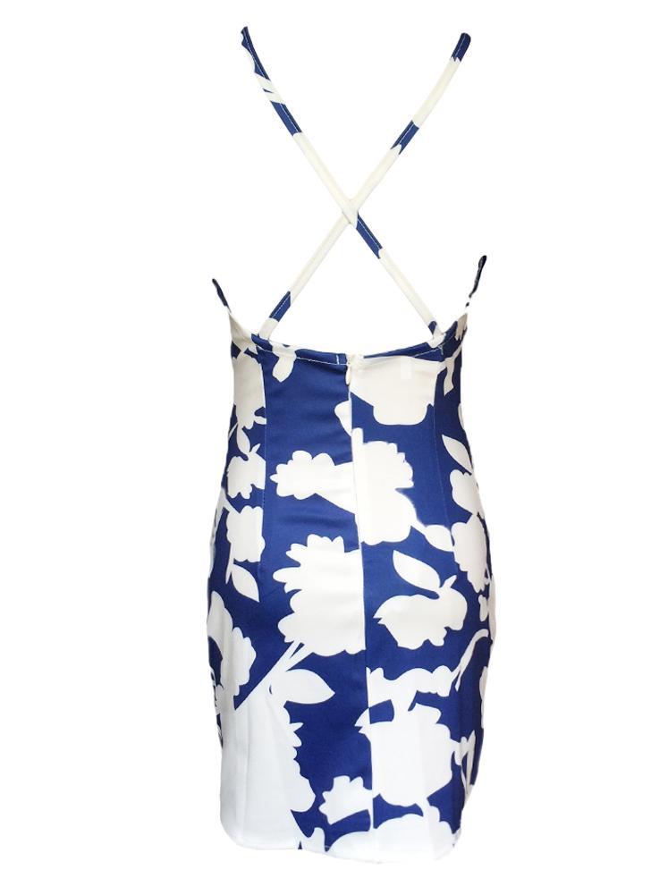Summer sexy femmes Mini Robe florale impression Crochet dentelle dos nu plage de sangles croisées Bodycon Dress Blue