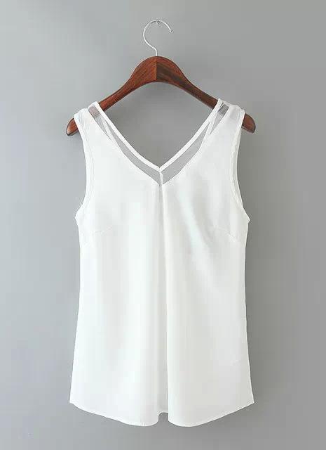 Nova moda mulheres colete Chiffon V pescoço com Tops de sólidos guarnição sem manga blusa malha preto/branco