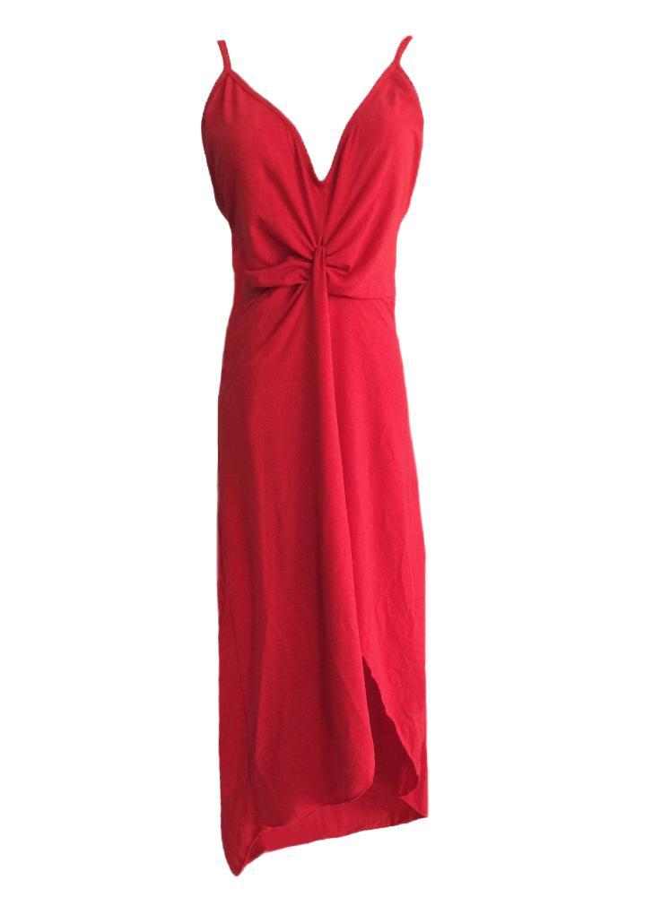 Sexy Twist Deep V Neck Backless Asymmetric Dress