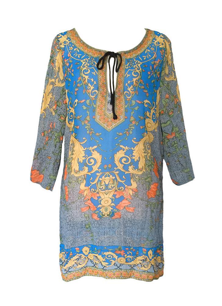 Donna vintage abito stampa floreale barocca V collo bohemien Shift vestito  sciolto Casual spiaggia vestito blu 3cbd320889c