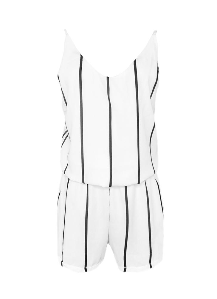 Nouveau mode femmes rayé mousseline de soie Jumpsuit Scoop Neck Spaghetti sangle Boho Beach Shorts blanc barboteuses