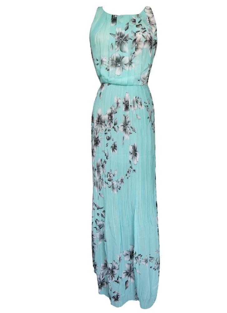 5d4ae3c54a8b Moda mujer verano gasa vestido Floral impresión sin mangas repliega  cremallera vestido largo Maxi amarillo/verde
