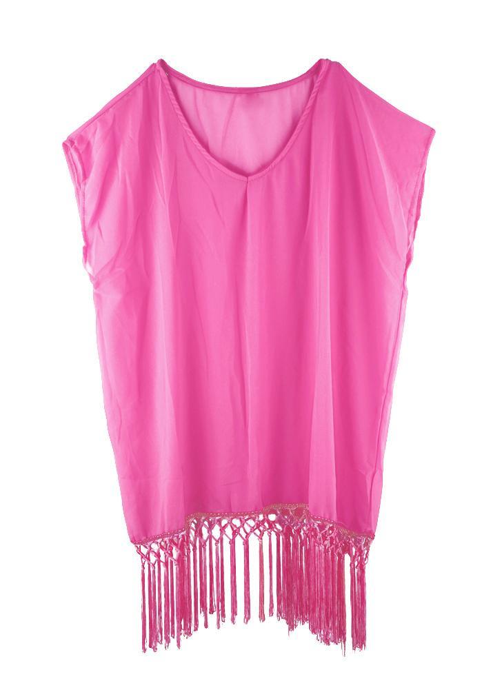 Fashion femmes maillots de bain en mousseline de soie Cover Up Robe col v manches courtes lâche Beach maillot de bain blanc/Rose/bleu