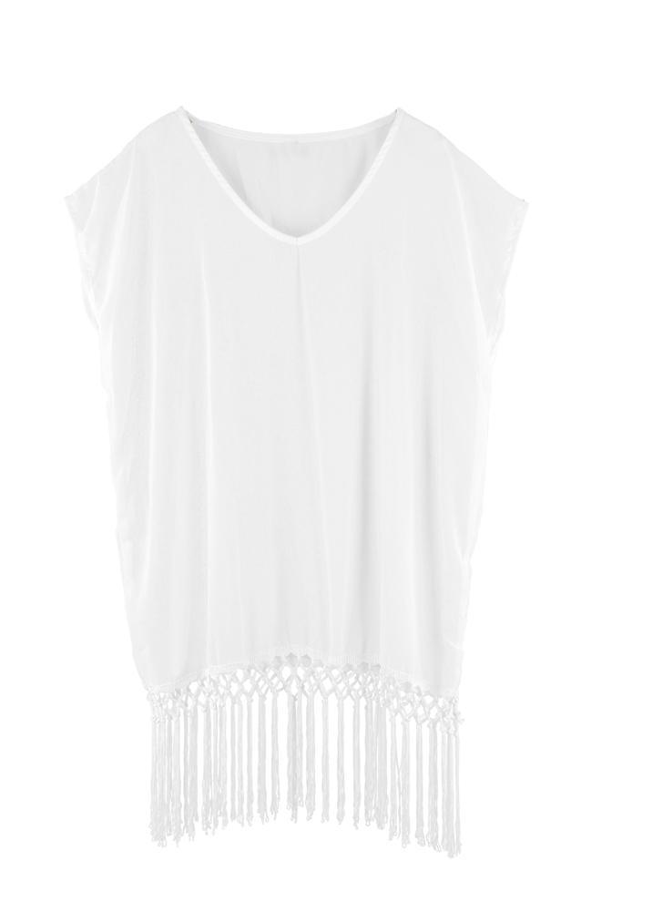 Mode Frauen Bademode Chiffon V-Ausschnitt Kurzarm lose Strand Kleid Badeanzug weiss/Rose/blau vertuschen