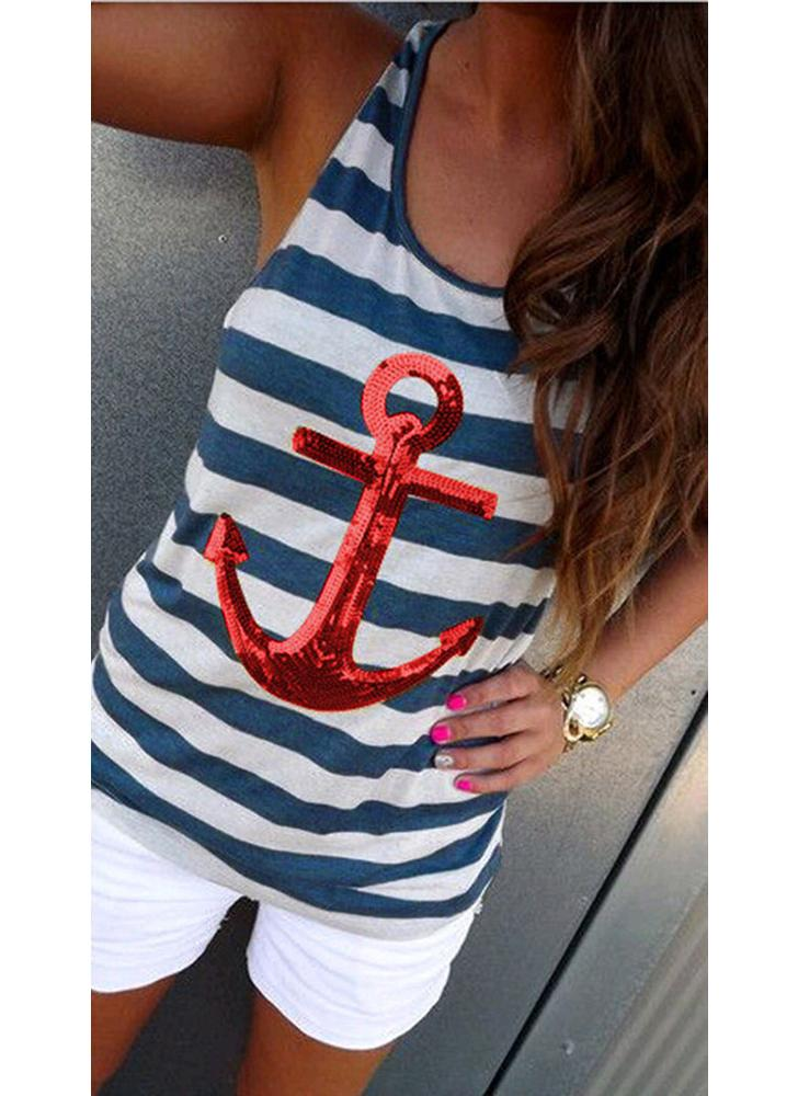 Fashion Sequin Anchor Stripe Pattern Sleeveless Tank Top