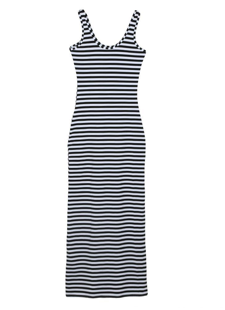l schwarz Neue Mode Frauen gestreift Maxi Kleid Scoop Neck ...