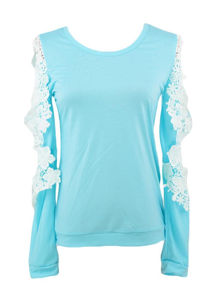 11b35531e8d Новые моды женщин футболку холодной плечо кружева пэчворк длинные Топ блузка  голубой