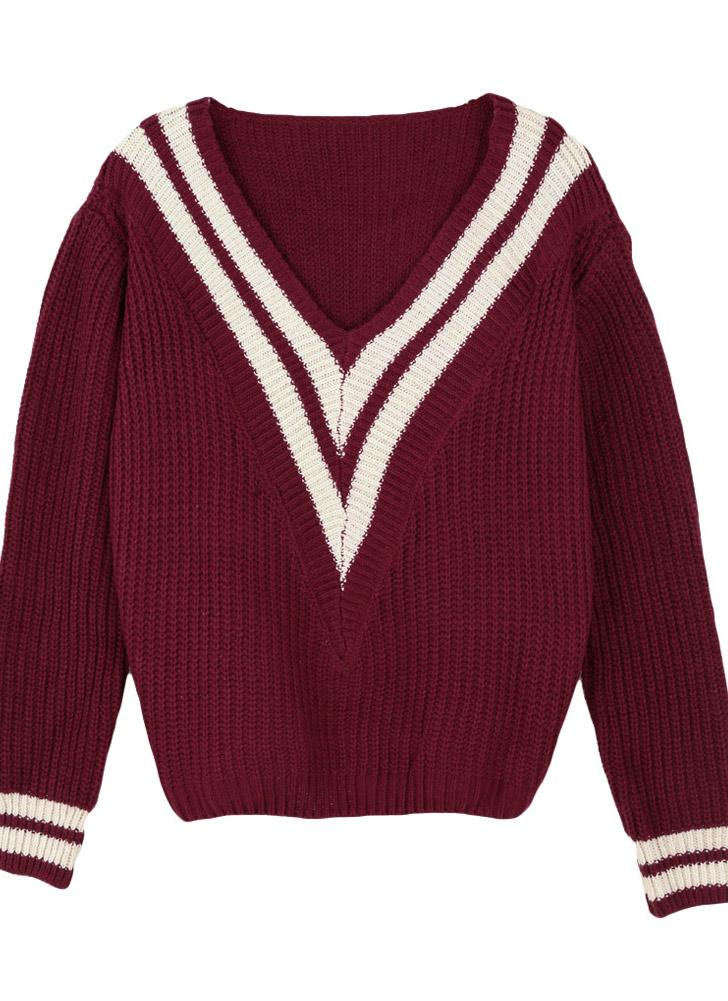 Trendy Deep V Neck Contrast Stripe Long Sleeve Knitted Sweater