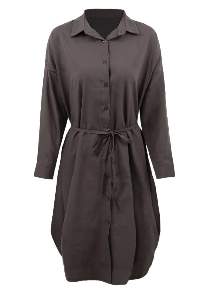 Casual Long Sleeve Button Placket Side Slits Solid Midi Shift Shrt Dress