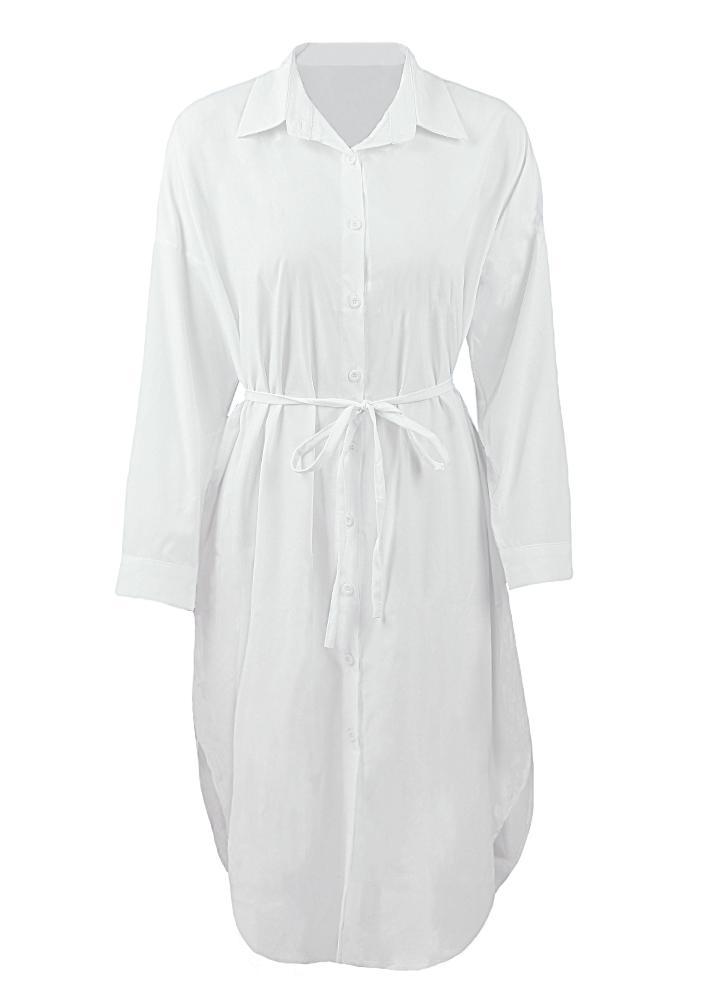Casual Long Sleeve Button Placket Side Slits Solid Midi Shift Shrt Dress