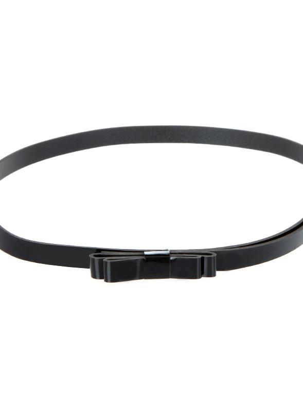 Vêtements femme Lady taille mince ceinture Bowknot mignon Candy couleur PU maigre mince cuir ceinture Belt Black