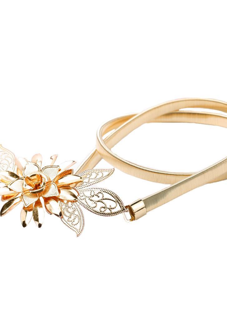 Fashion femmes Lady or métal chaîne ceinture fleur embellissement taille  élastique bracelet ceinture drapée All- fc67216bdad