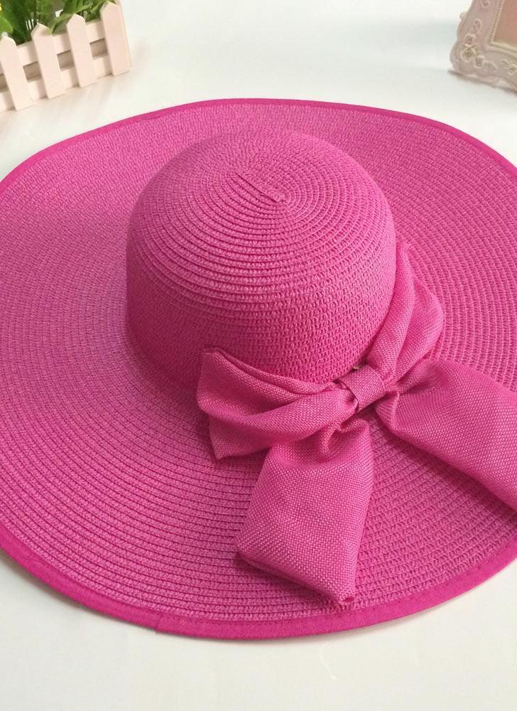 Nuova moda donna tesa larga di paglia cappello floscio di prua pieghevole  sole spiaggia Cap e5abafda0ca1
