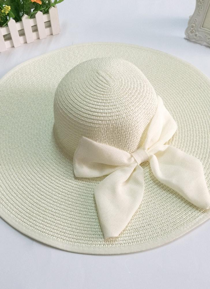 51a52bb03ae Women Straw Floppy Hat Wide Brim Bow Foldable Sun Beach Cap
