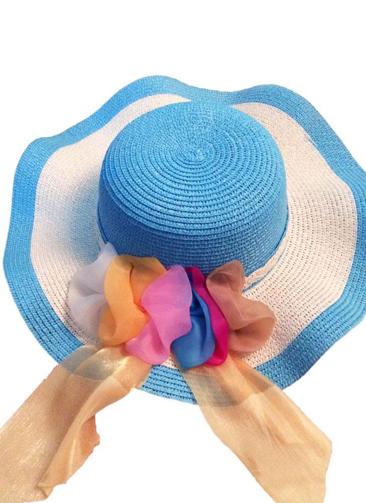 Nuova estate donne ragazza cappello di paglia onda ampia tesa nastro  colorato Floppy pieghevole sole spiaggia f6779ebad050