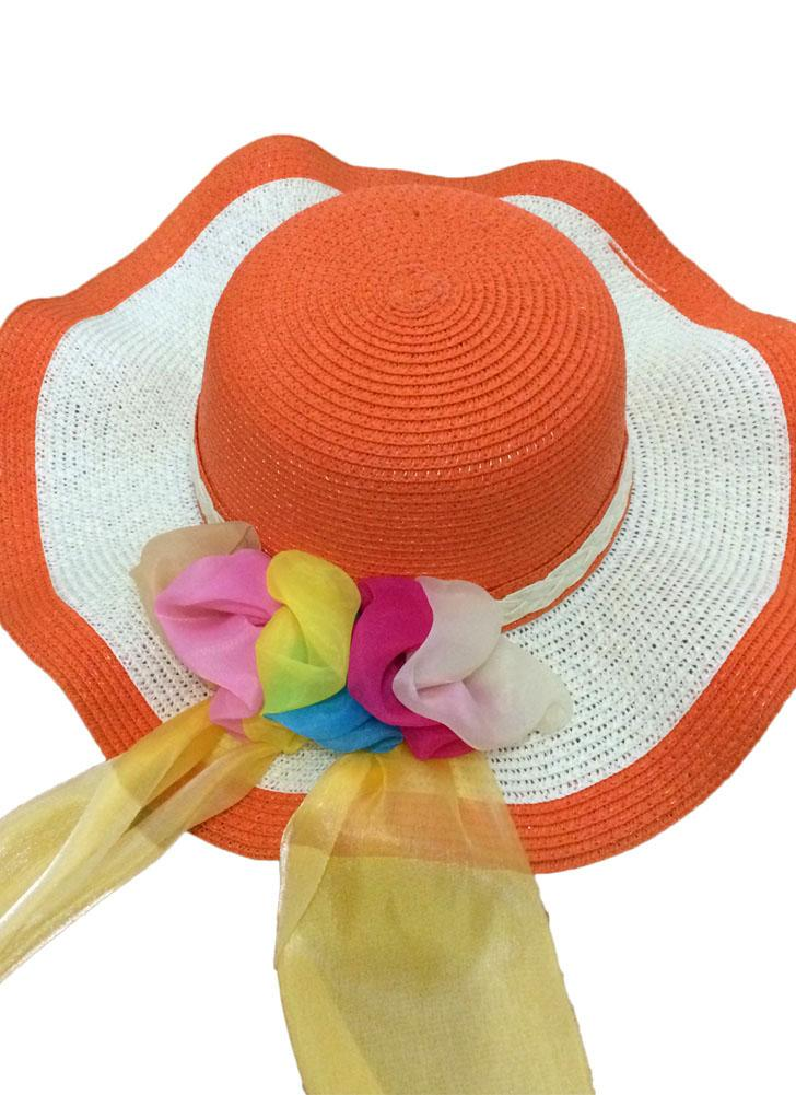 30dfb059bd199 Novas mulheres garota chapéu de palha grande onda Brim fita colorida  Foldable disquete sol praia chapéu