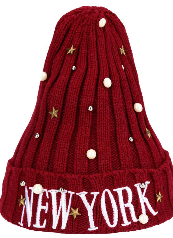 Nuove donne Unisex uomo Beanie cappello lettera ricamo perle stelle solido  caldo hip-hop Cool 140173d4bc63