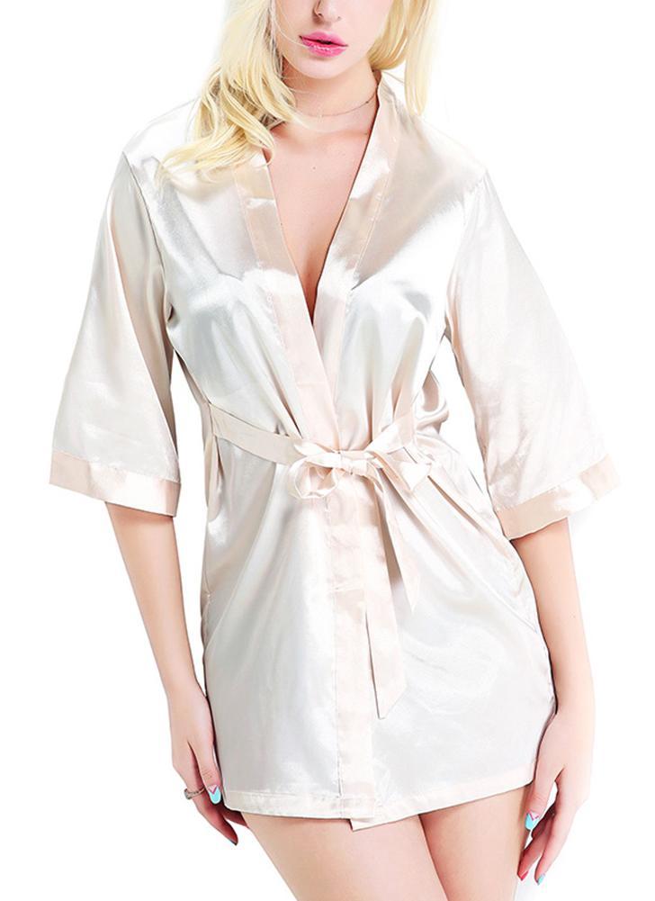 Frauen Satin Night Robe Nachtwäsche Bademantel Short Kimono Brautkleid Morgenmantel Nachtwäsche