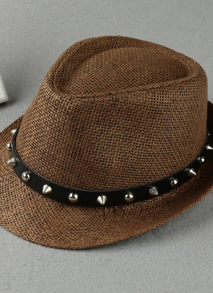 Fashion Summer Sun  Panama Hat Beach Cap Rivet Belt  Straw Hat