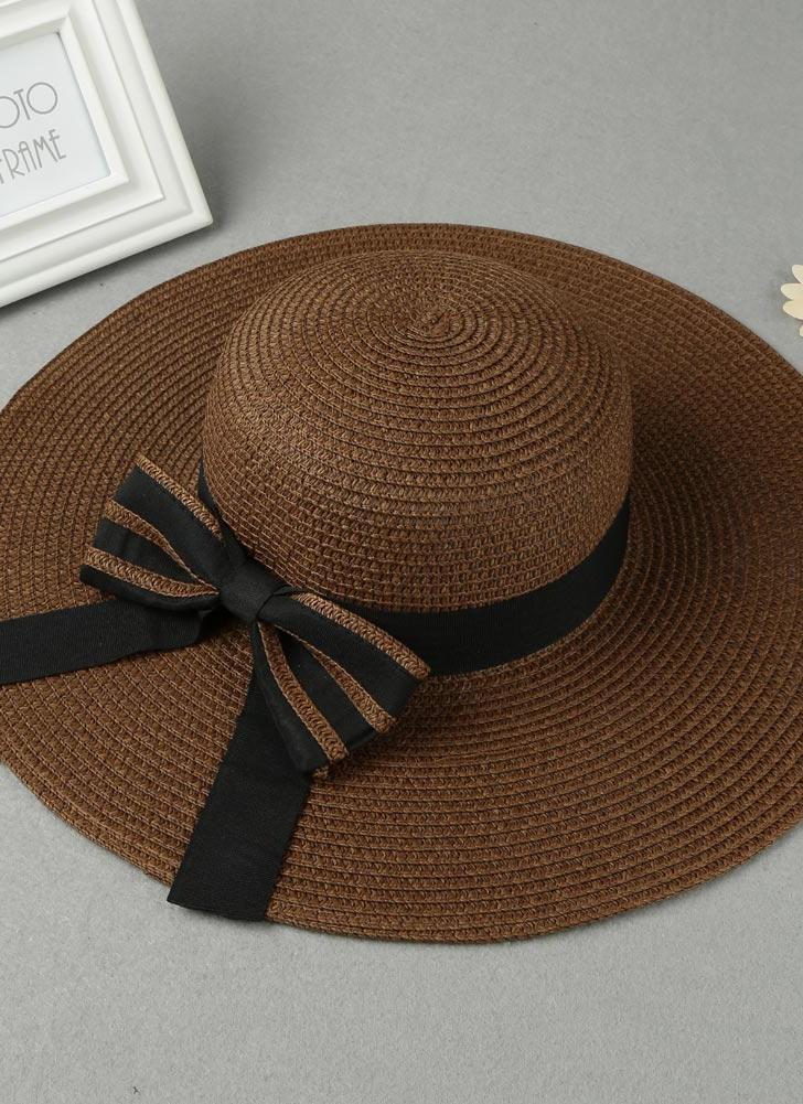 Estate donne di modo cappello di paglia floscio Tesa larga Bow pieghevole  Sun Beach Holiday Casual f2fec3421a22