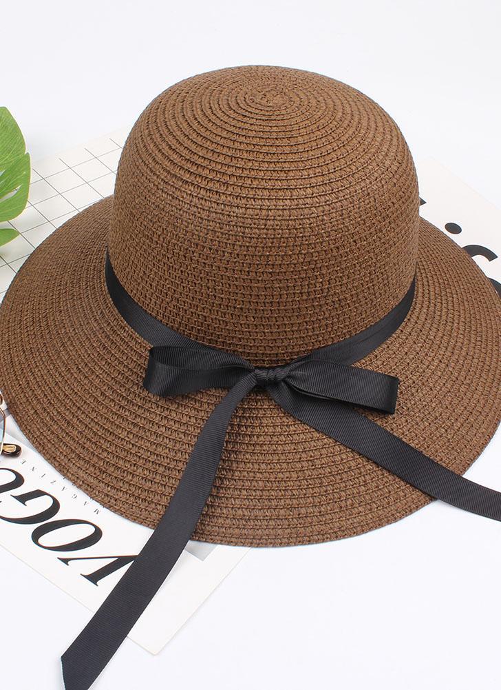 Cappello estivo da donna Cappello di paglia Fiocco di nastro Cappello da spiaggia fedora