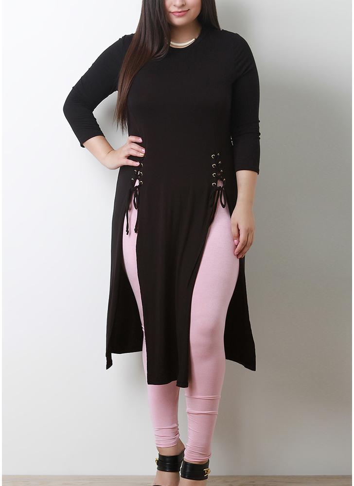 Têxtil de tamanho grande com tamanho feminino Lace Up Side Slit