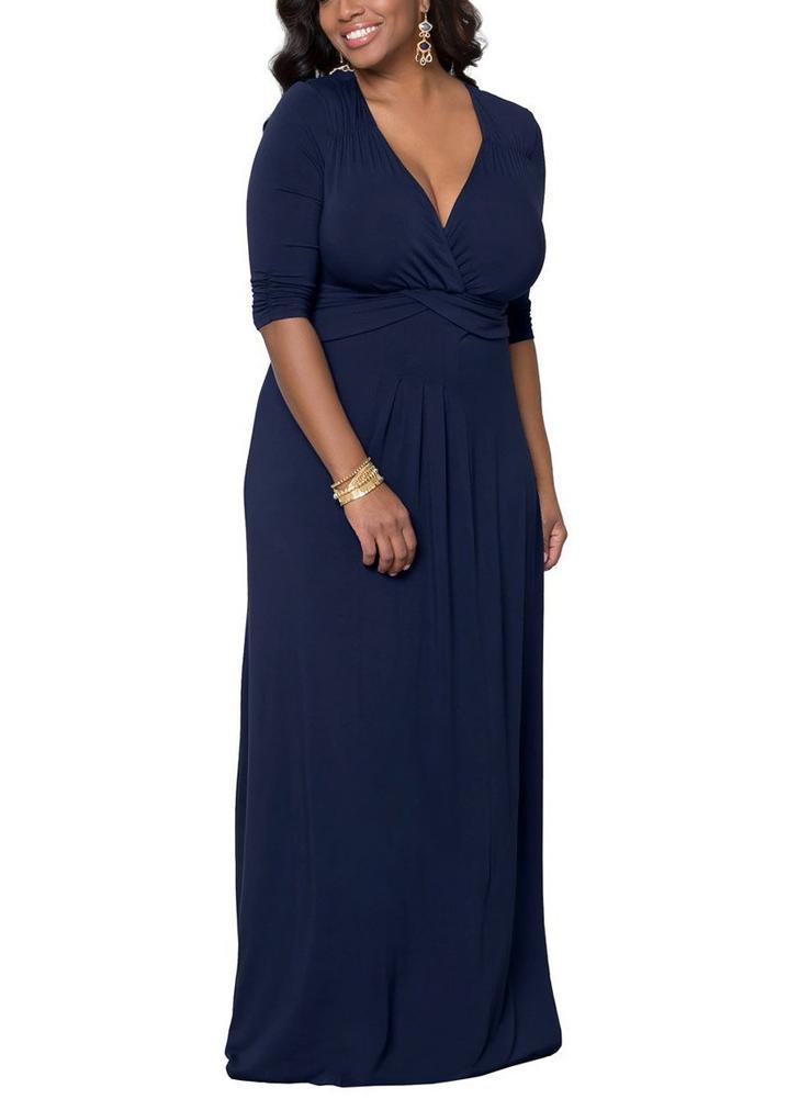 Vestido maxi de manga larga com manga sólida com profundidade profunda de três quartos