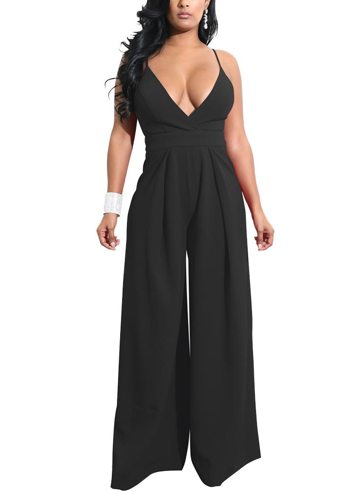 Women Wide Leg Jumpsuit Open Back High Waist Casual Playsuit Rompers