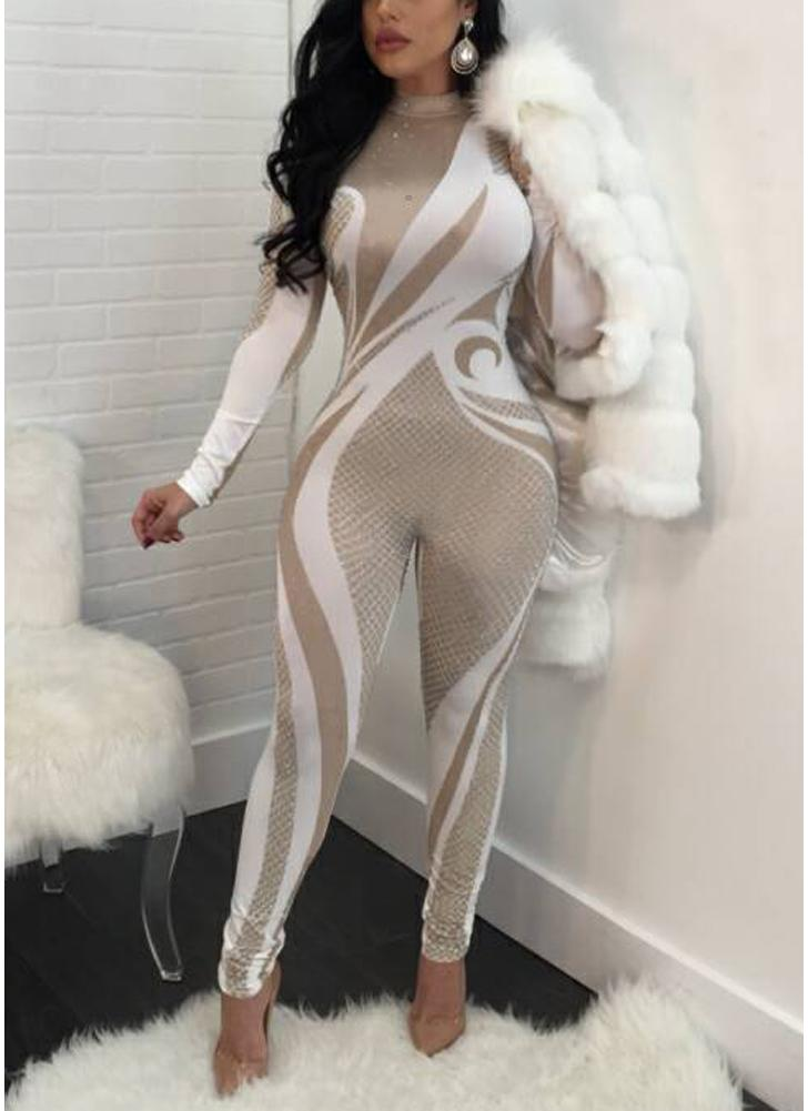 Turtleneck Printed Long sleeve Women Sexy Jumpsuit