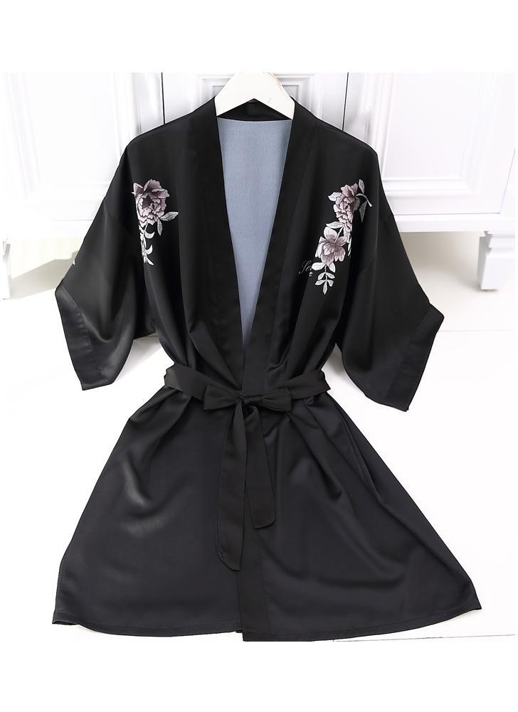 black l Women Robe Pajama Satin Floral Print Kimono Dressing Gown ...