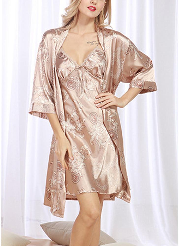 3e2e8464ef Satin Vintage Print Slip Cardigan Women Pajama Set Dress