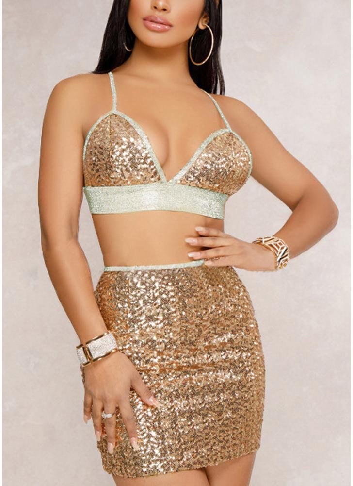Women Sequin Cami Two Piece Set Strap Crop Top Bralette Mini Skirt Set