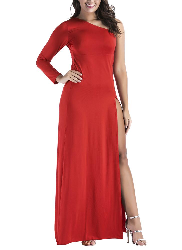 Women Plus Size Maxi Dress Um ombro High Split Solid Cocktail Party Dress