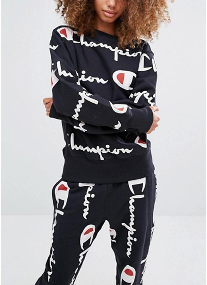 Печать Длинные брюки с длинным рукавом Толстовки Повседневная спортивная одежда из двух частей