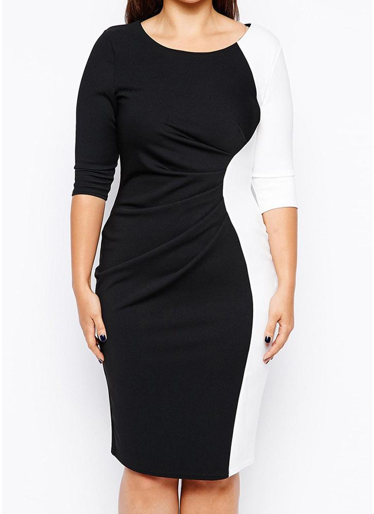Women Plus Size Dress Contrast Color Three Quarter Sleeve Ruched OL Dress