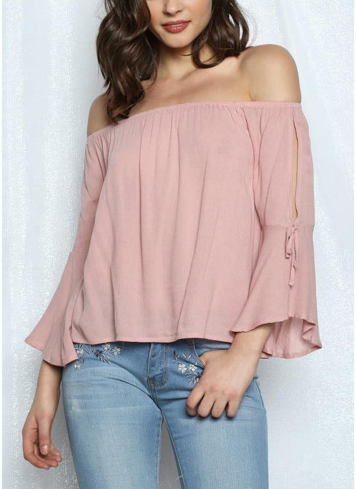 Women Off The Shoulder Flare Sleeve Blouse  Solid Loose Top