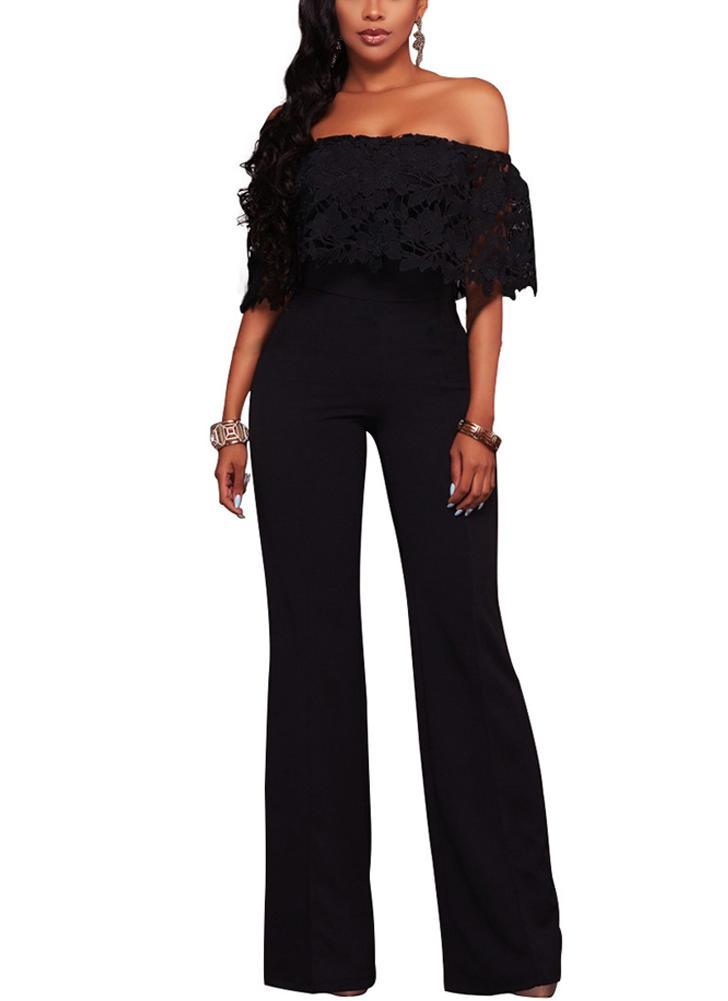 Mulheres Jumpsuit Lace Off the Shoulder Bodysuit Slash Neck Wide Leg Trousers