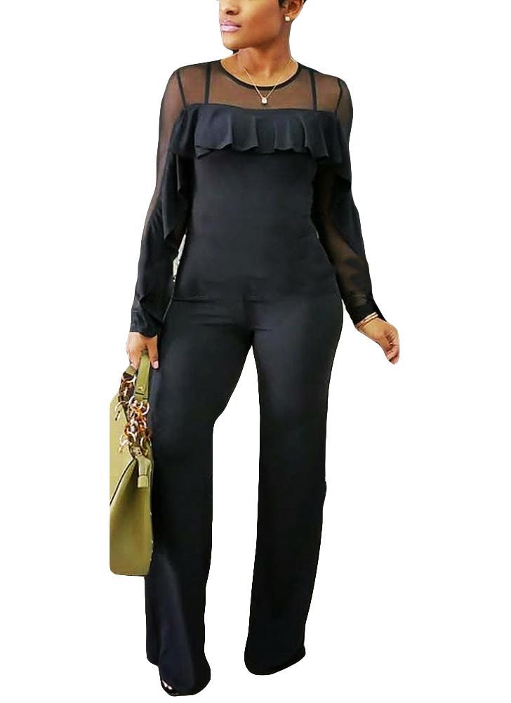 Sheer Mesh Ruffle Trim Back Zipper O cuello Jumpsuit mujer