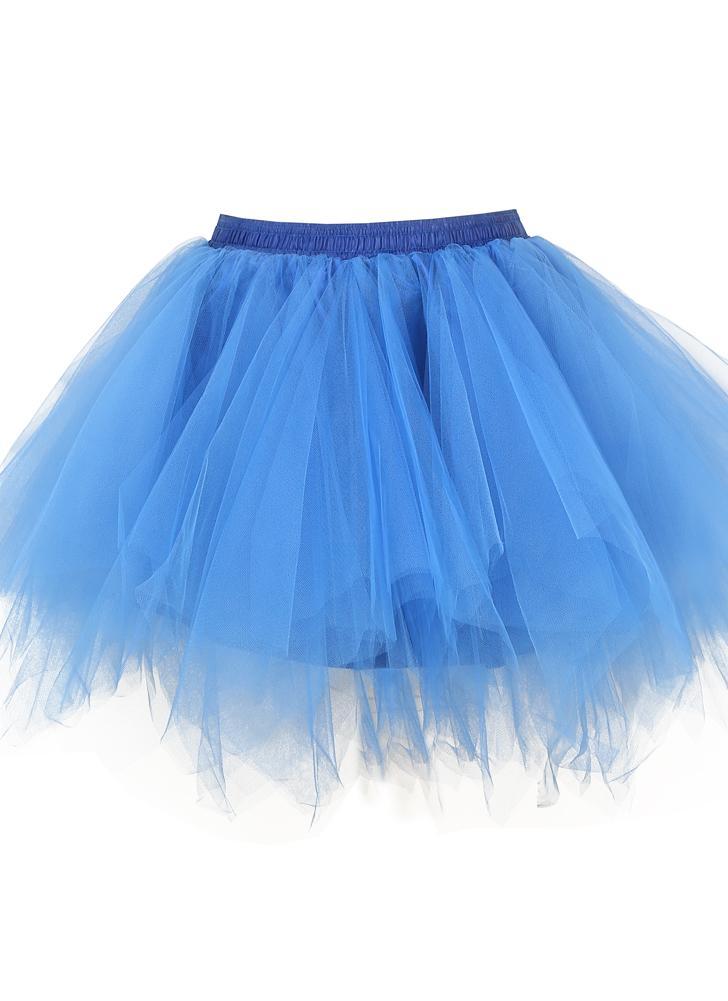 Mujeres de los años 50 Vintage Tutu Petticoat Ballet Bubble Tulle Falda con capas de minifalda